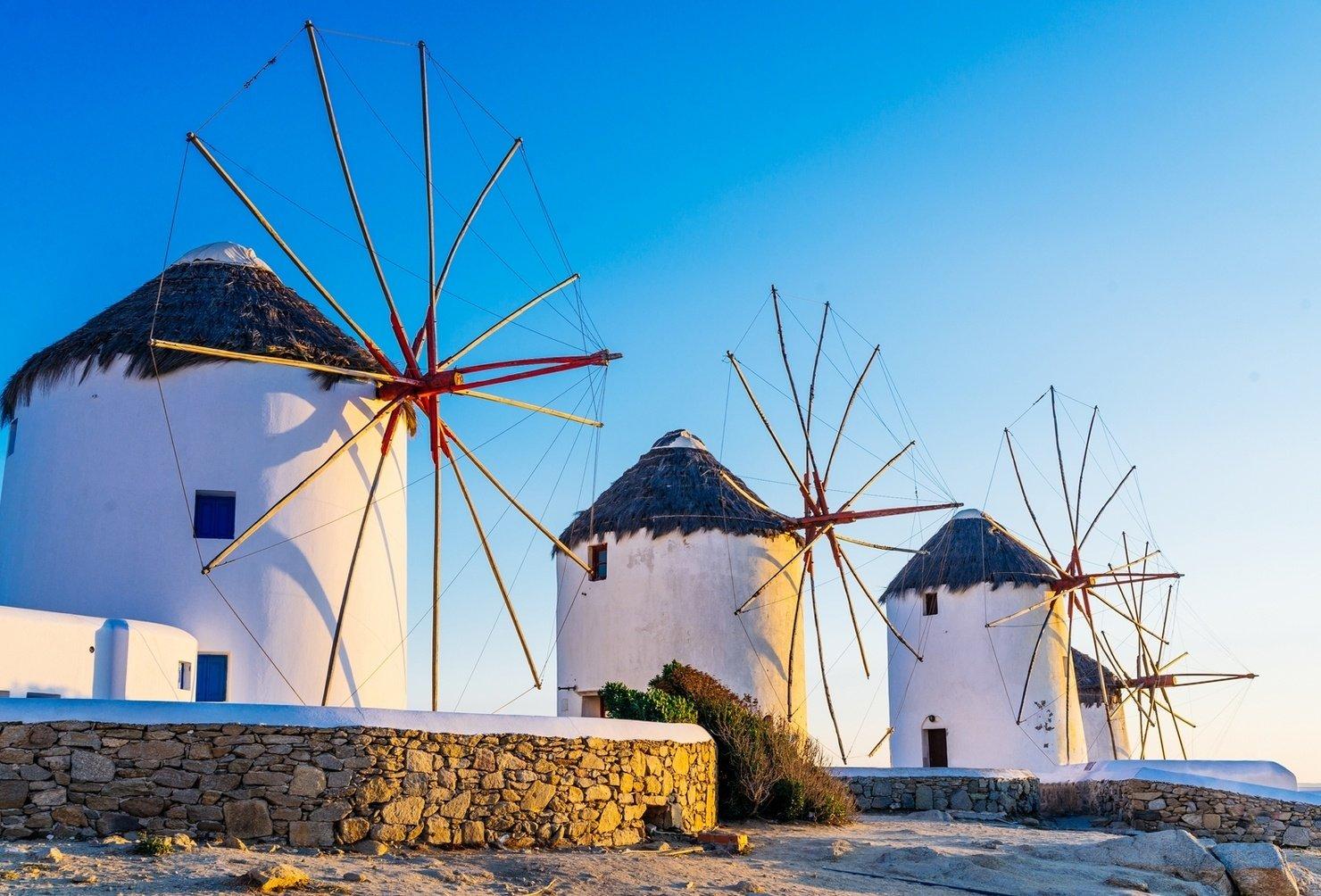 Greek Island With Windmills