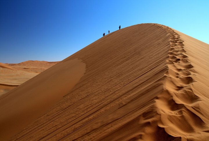 Dune walking in Namibia