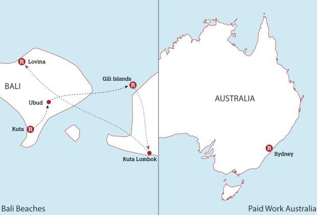 Bali Beaches & Paid Work in Australia