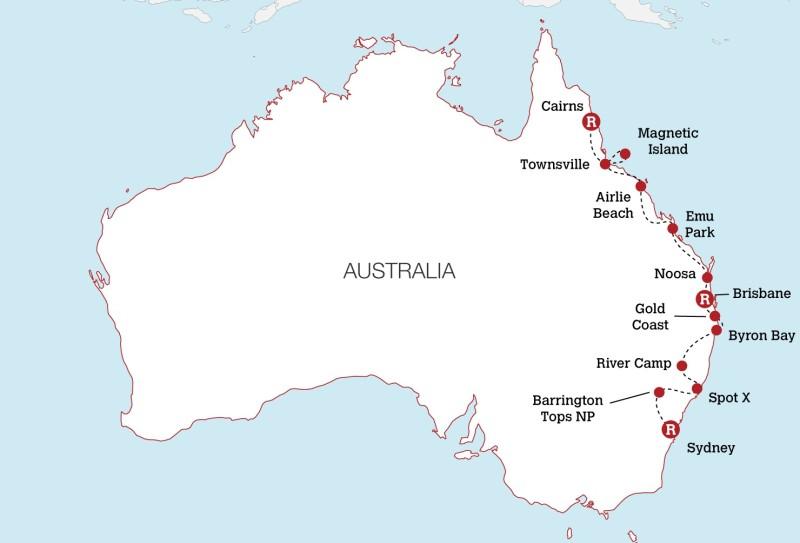 Map East Coast Of Australia.Ultimate Australia Work Travel