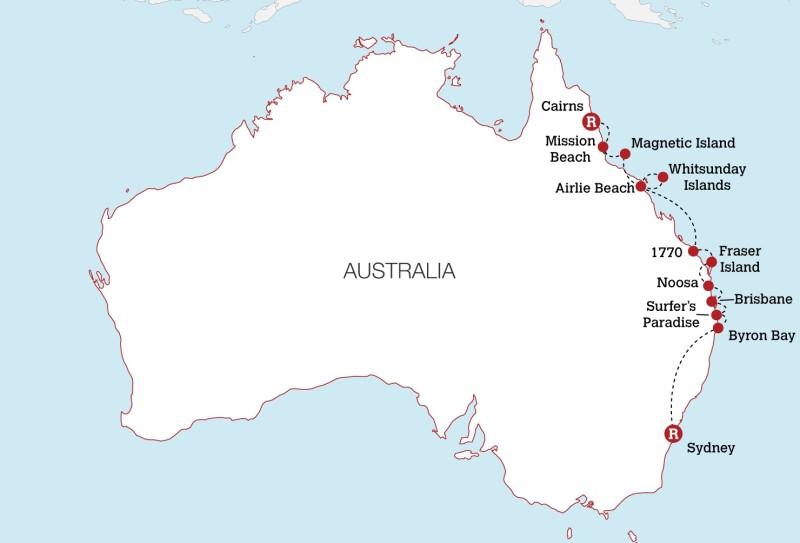 Map Of Uk East Coast.Australia East Coast Experience