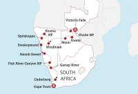 Victoria Falls to Cape Town Experience Map